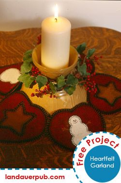 Heartfelt Garland: Use this quick-to-stitch wool appliqué garland as a table topper, a wall decoration or as a candle mat. It was designed by Lynette Jensen for Thimbleberries®.