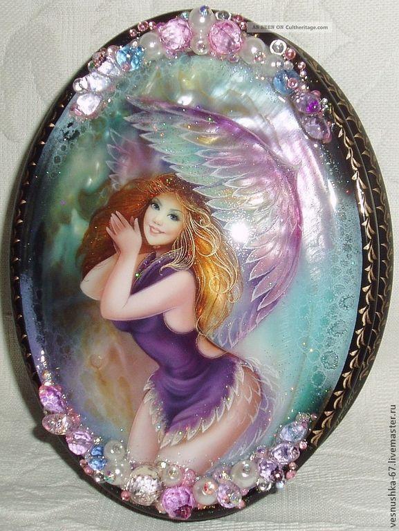 Феечка - лаковая миниатюра,шкатулка,перламутр,подарок девушке,сувениры ручной работы