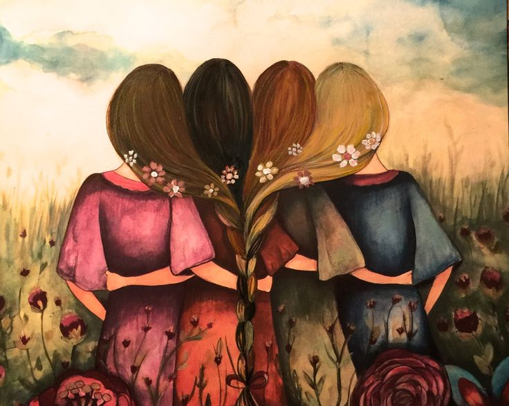 The four sisters best friends brisdemaid present art print by claudiatremblay on Etsy