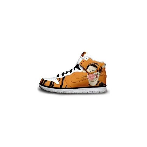 disney tigger sneakers Nike Dunks Design Shoes Cartoon found on Polyvore