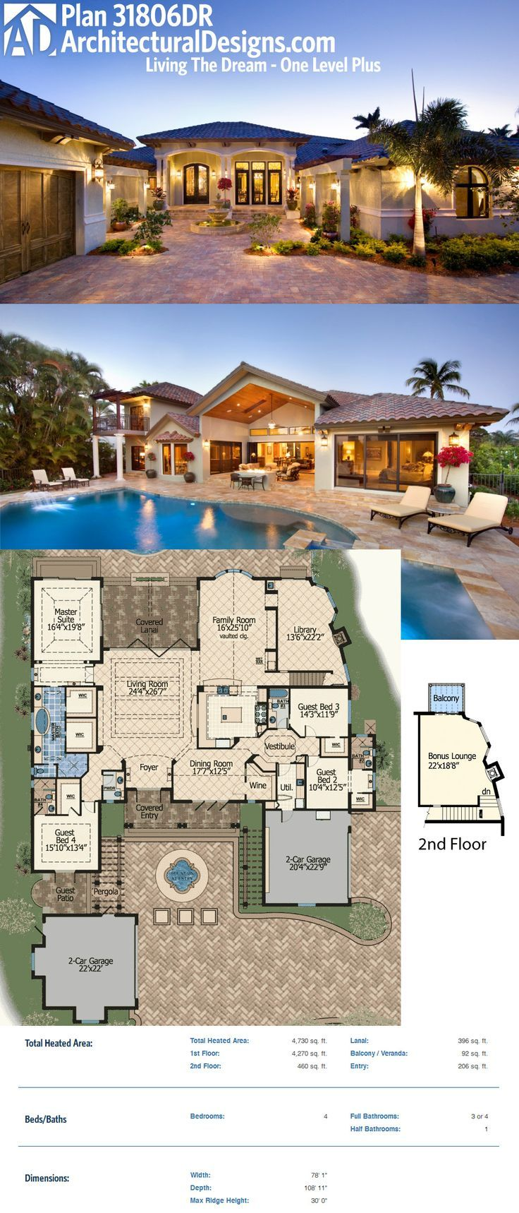 """Architectural Designs House Plan 31806DN – """"One Level Living Plus"""" – gives you over 2,900 square feet of living plus a lanai that opens to the living room by collapsing the back wall. Ready when you are. Where do YOU want to build?"""