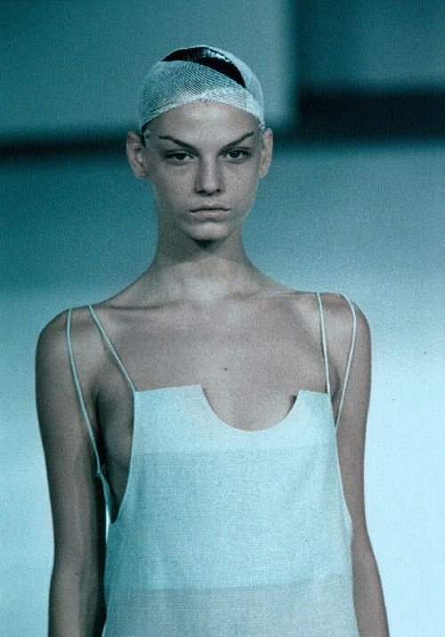 """Angela Lindvall at Hussein Chalayan S/S 1999 """"Geotropics"""""""