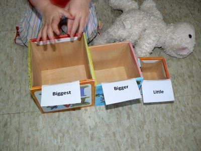 Having Fun at Home: Big, Medium, and Little Bins -- find objects that come in three sizes (spice bottles, stuffed animals, ect)