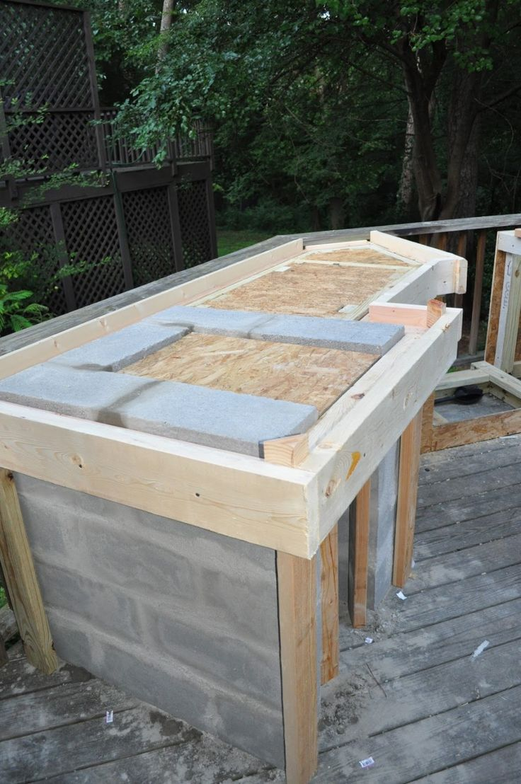 Wonderful Outdoor Kitchen Cinder Block Frame With Granite Tile For Outdoor Kitchen Countertop And Combine With Concrete Block For Kitchen Is...