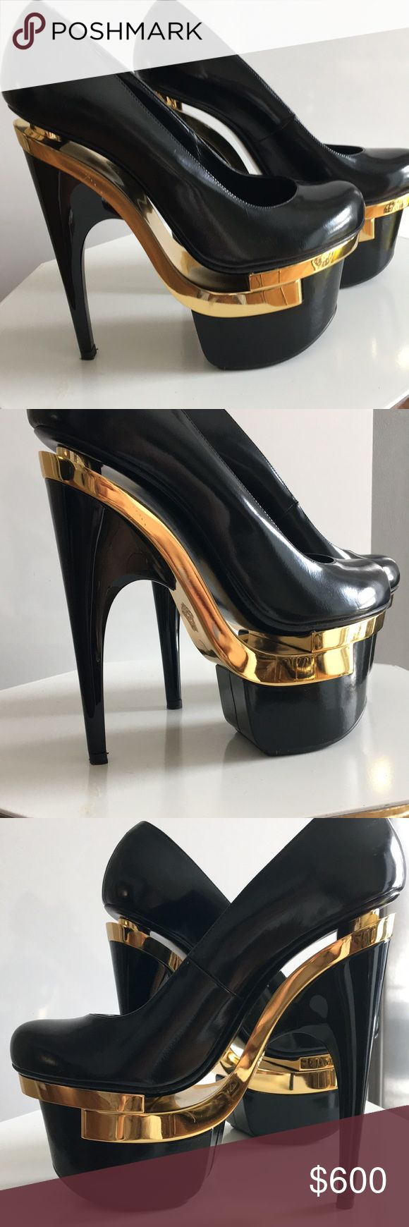 Versace pumps size 38.5 These amazing heels I bought from a boutique. Not sure why I bought size 38.5... and when I went to exchange they told me it was a final sale. I wore them once around the house! Versace Shoes Platforms