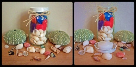 J'aroma - My little aroma jar. Hand-stitched felt hearts filled with rice infused with your choice of fragrance. Jar filled with shells and hearts and tea light candle which is glued to the lid