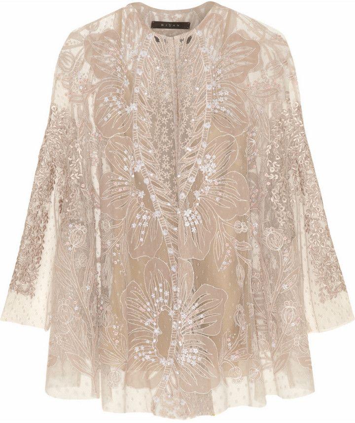 Biyan Kalla embellished tulle cape jacket on shopstyle.com.au