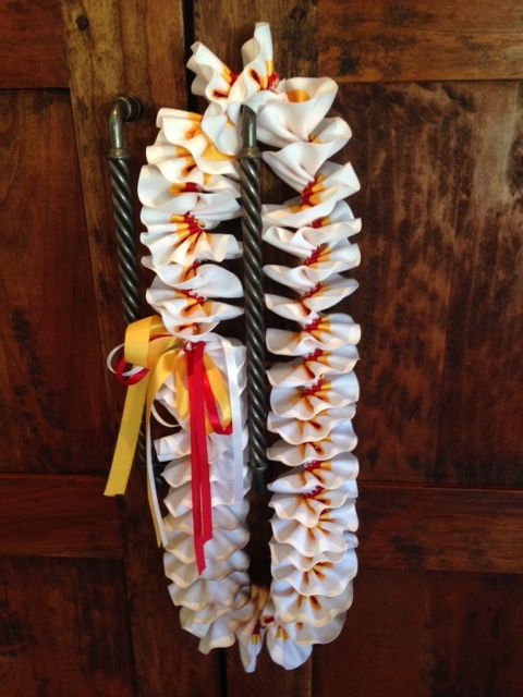 White, Gold & Red Plumeria Ribbon Lei-Catherdral Catholic HS