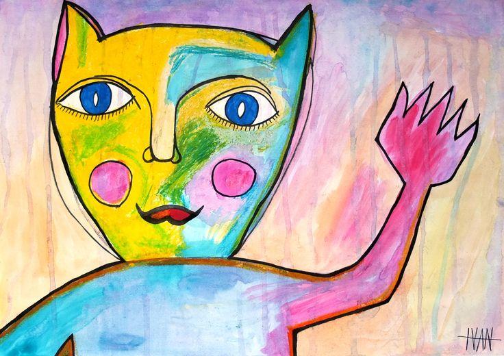 """""""Hello Cat"""" Art Brut / Outsider Art from german artist Ivan Summersky (www.ivansummersky.com)"""