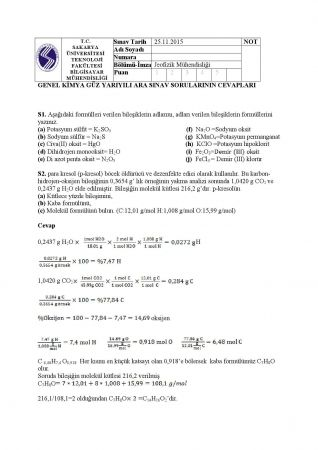 Genel Kimya Vize Soruları ve Cevapları - Jeofizik Müh