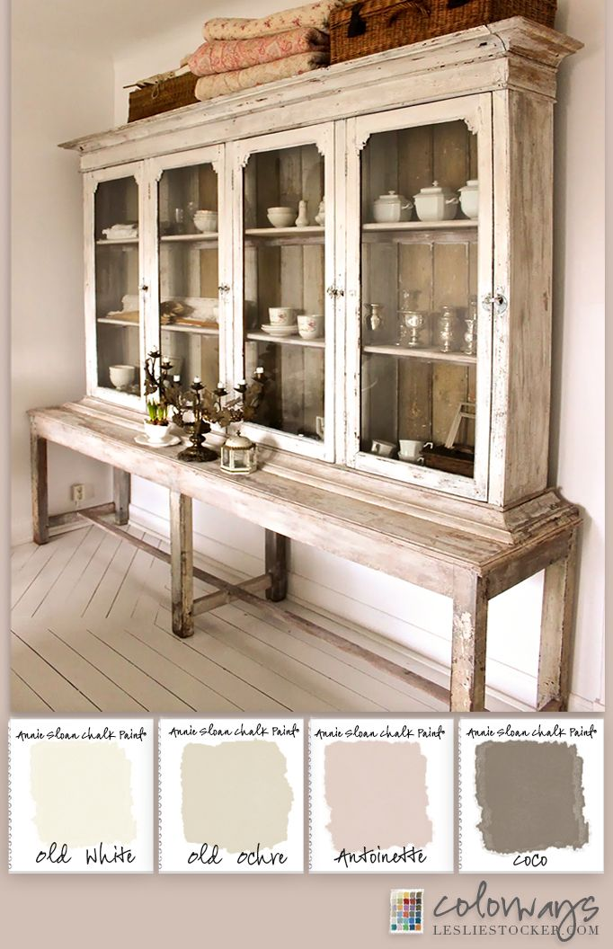 Colorways with Leslie Stocker » Country Sideboard provides inspiration for a soft white Annie Sloan Chalk Paint® color palette. Old White, Old Ochre, Antoinette, Coco