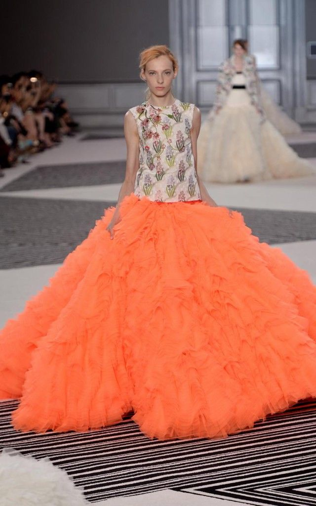 Giambattista Valli AW15 collection, beautiful evening gown, red carpet dress, orange dress.