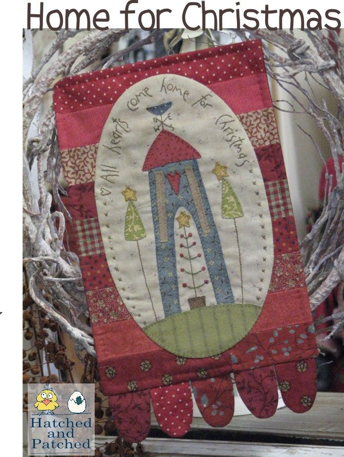 Home for Christmas free applique and embroidery design from Hatched and Patched