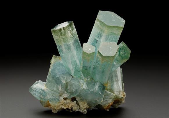 Green capped light blue Aquamarine crystals - Erongo Mountain miarolitic pegmatites Namibia. Crystal Classics Minerals