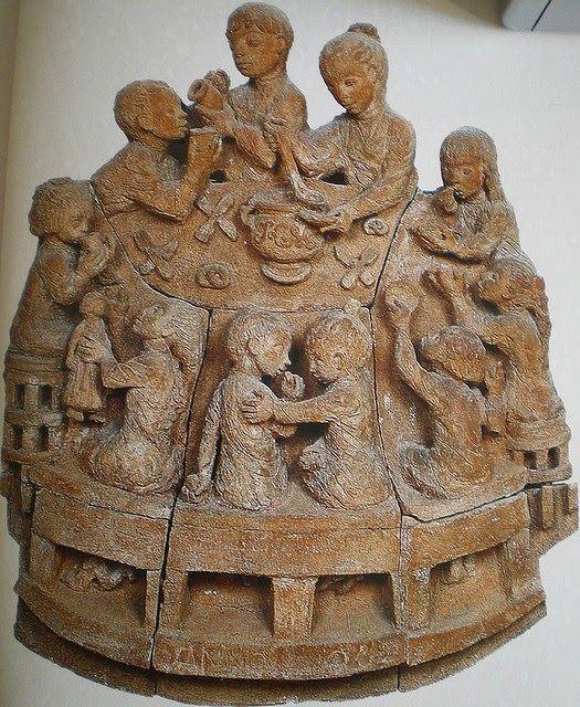 "Margit Kovács (Hungary 1902-1977), ""The Big Family,"" earthenware relief, 1962. Margit Kovács Museum, Szentendre."