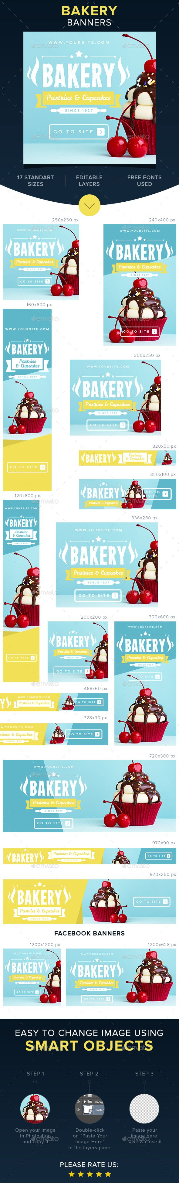 Bakery Banners — Photoshop PSD #icing #cupcakes • Available here → https://graphicriver.net/item/bakery-banners/16730326?ref=pxcr