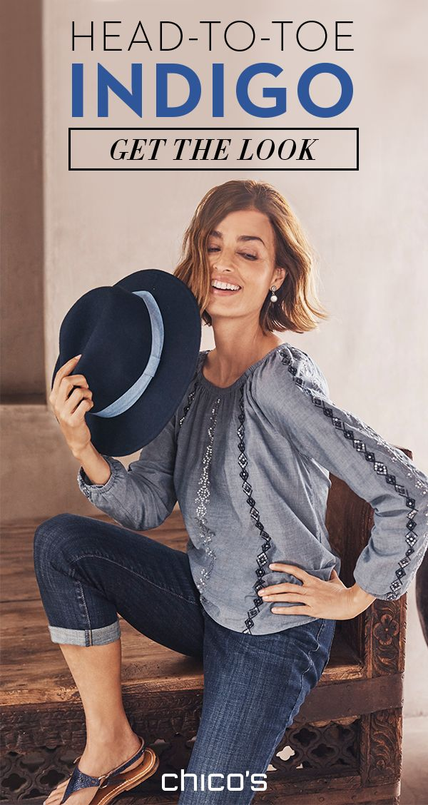 Acts like a neutral. Looks so much cooler. From your hat to your sandals, find apparel and accessories in all shades of indigo. Make this look yours at chicos.com.