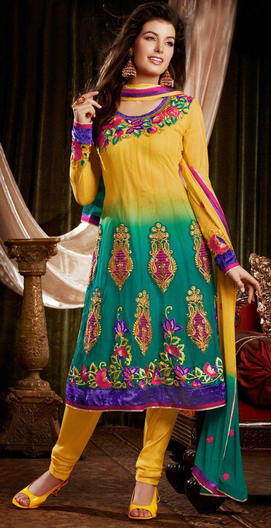 USD 62.75 Yellow Soft Net Designer Salwar Kameez 44299