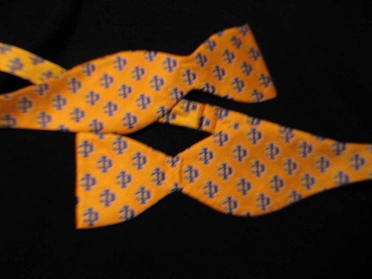 Fraternity Symbol Bow Tie Yellow & Gold Adjustable One Size Hand Made Polyester