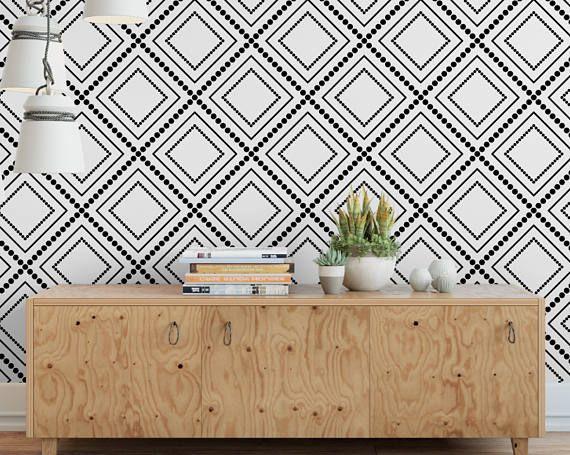 Modern Diamond Wallpaper White Wallpaper Removable Etsy White Wallpaper Diamond Wallpaper Removable Wallpaper