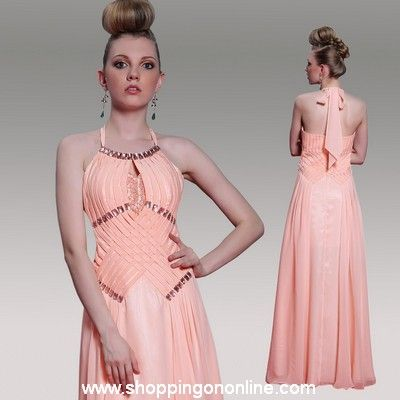 Pink Prom Dress - Chiffon Halter Design $182.40 (was $228) Click here to see more details http://shoppingononline.com/prom-dresses/pink-prom-dress-chiffon-halter-design.html #PinkPromDress #ChiffonPromDress #HalterPromDress #BacklessPromDress #BacklessDress #PinkDress #Pink #PromDress