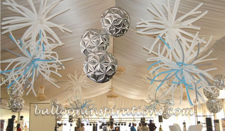 Balloon disco balls form part of the ceiling decorations for Balloon decoration for ceiling