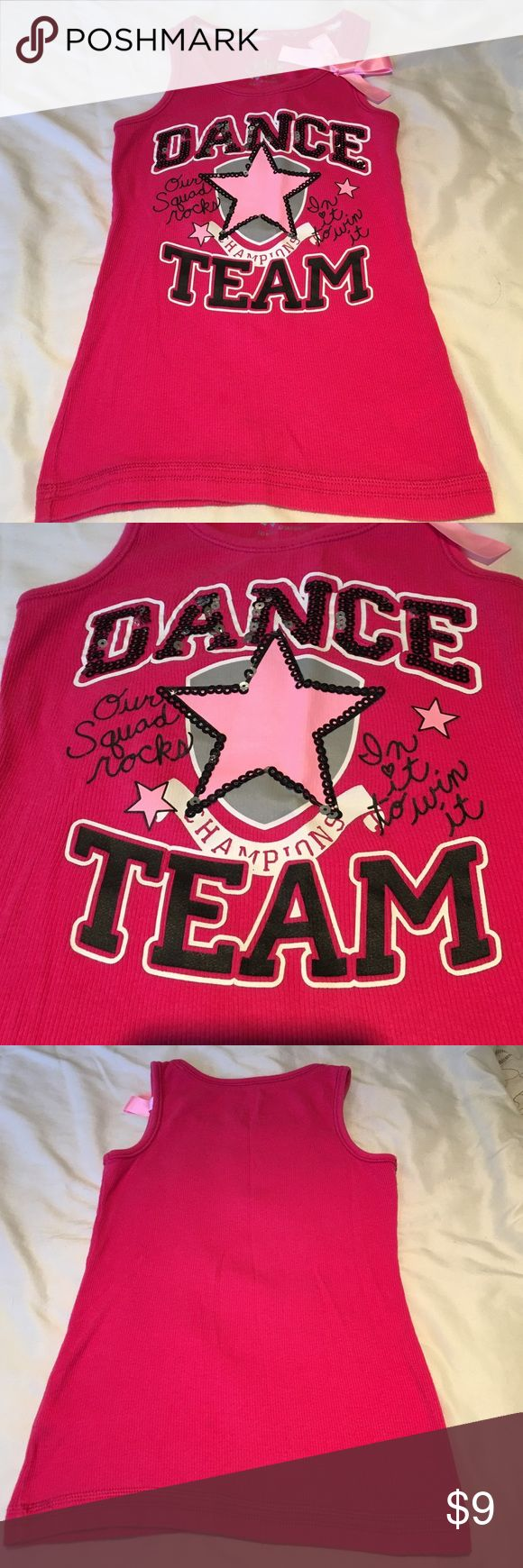 HPJUSTICE Girls Dance Tank Top Very cute Justice tank. Gently worn in very good condition.  No rips, tears or stains. Dance and Star logo has black sequins.  Light pink bow on upper left. 96% Cotton, 4% Spandex. Girls Size 7. Justice Shirts & Tops Tank Tops