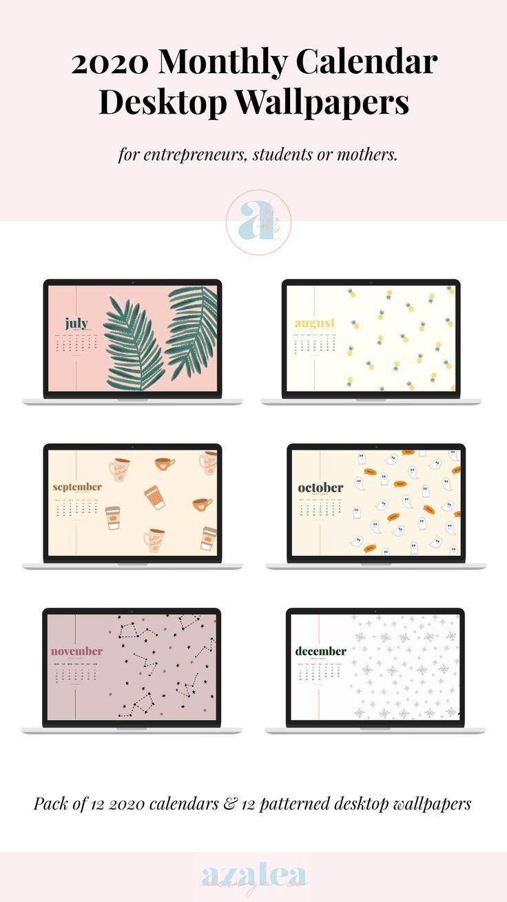 2021 Monthly Desktop Calendars Desktop Wallpaper Instant   Etsy in