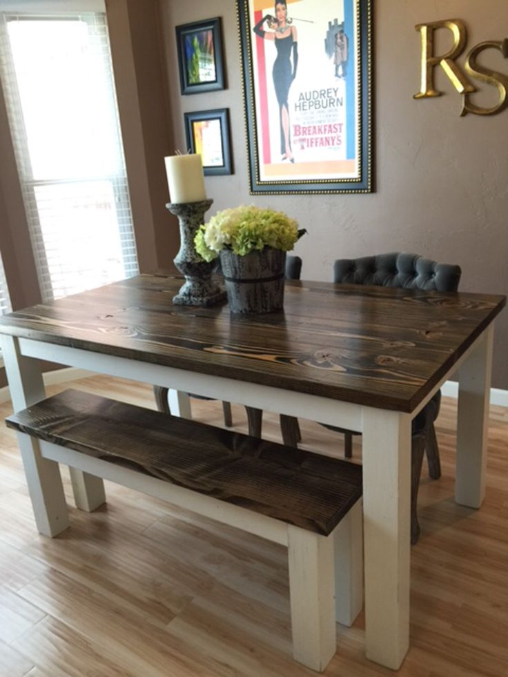 Solid Wood Farmhouse Kitchen Table With Matching Wooden