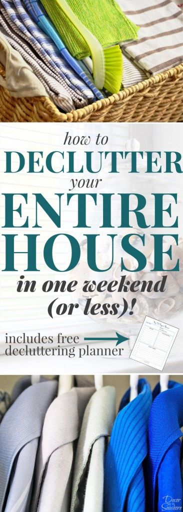 YES, it is actually possible to declutter your entire home in ONE weekend! These step-by-step instructions are so easy to follow and will show you exactly how to declutter your whole house this weekend! Plus there's even a free decluttering planner included. There's really no excuse not to get your home decluttered and under control! | decorbytheseashor...