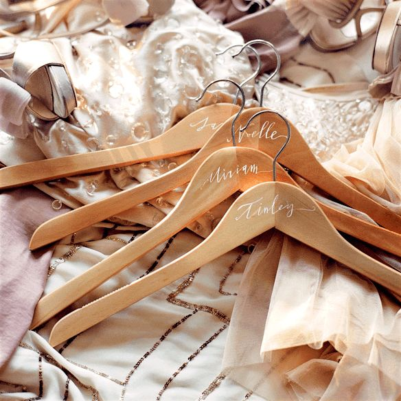 Again, nicer than a metal or plastic hanger for wedding pictures    diy-bridesmaid-hanger-ideas-gifts