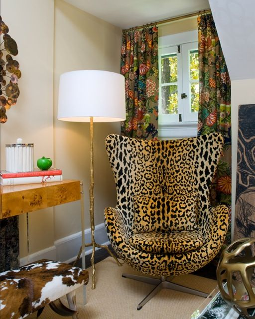 leopard chair, Chai Mang curtains, brass and a burl wood console - like it a lotVintage Chairs, Modern Chairs, Eggs Chairs, Floors Lamps, Leopards Prints, Animal Prints, Offices Chairs, Leopard Prints, Leopards Chairs