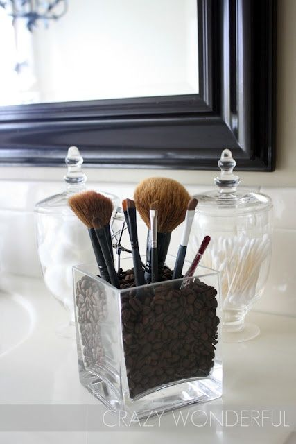 make up storage in a beautiful container with coffee beans