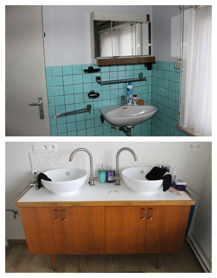 Before/ After: our bathroom with self-designed and -made vintage bathroom furniture.