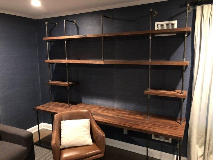 Butcher block office desk builtin in 2021 cheap office