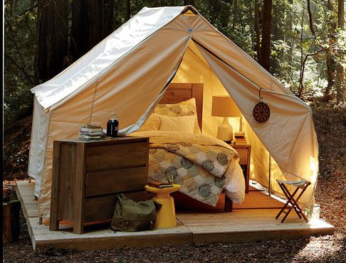 I'd go camping if I could sleep in this tent. :)Glamping, Spaces, Ideas, Backyards Camps, Dreams, Guest Bedrooms, Places, Tents Camps, My Style