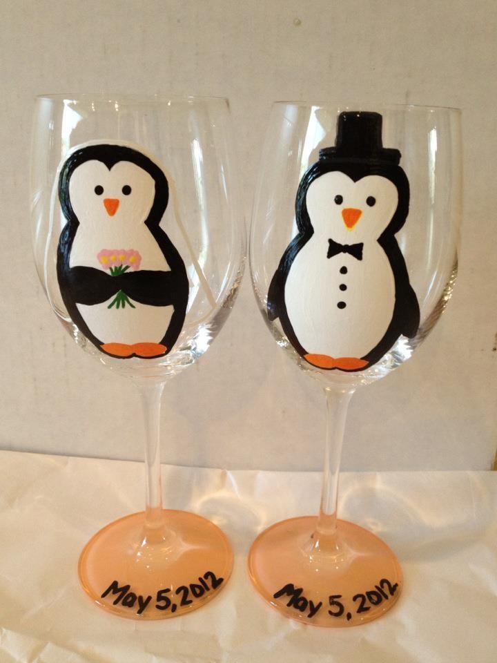 Bride & Groom Penguin Wine Glasses