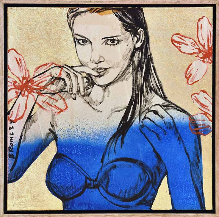 David Bromley -  Nude Painting - Blue - Gold Leaf