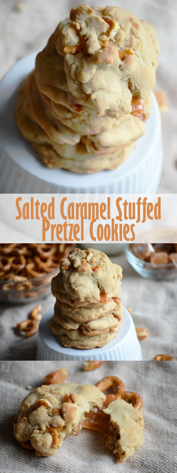 Salted caramel stuffed pretzel cookies combine all of your favorite flavors into one delicious and irrestiable treat!