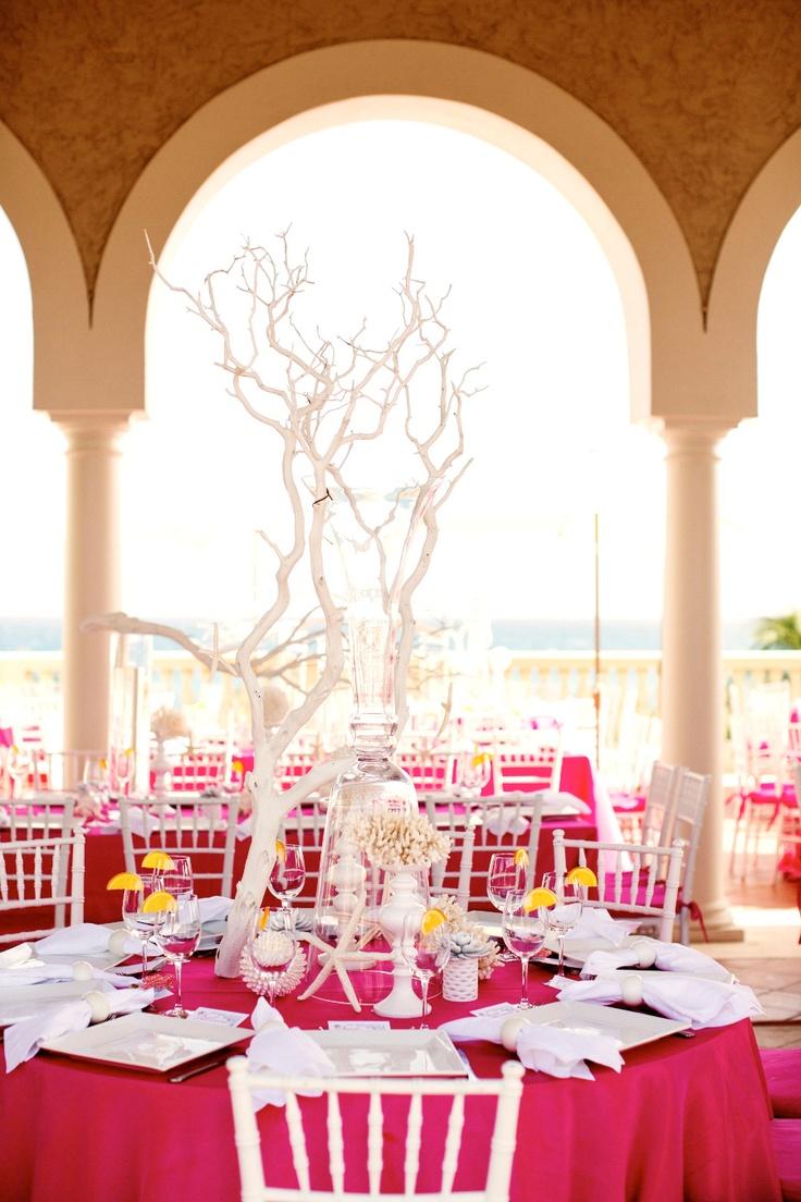 70 best wedding centerpieces images on pinterest wedding center seaside inspired pink decor junglespirit Image collections
