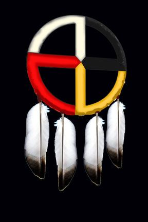 The Medicine Wheel is representative of American Indian Spirituality.  The Medicine Wheel symbolizes the individual journey we each must take to find our own path.  Within the Medicine Wheel are The Four Cardinal Directions and the Four Sacred Colors.  The Circle represents the Circle of Life and the Center of the Circle, the Eternal Fire.  The Eagle, flying toward the East, is a symbol of strength, endurance and vision.  East signifies the renewal of life and the rebirth of Cherokee unity.