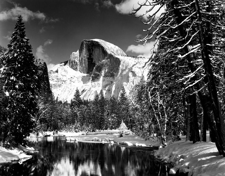 Half Dome, Merced River, Winter by Ansel AdamsHalfdome, Half Dome, Merc Rivers, Art, Anseladam, Rivers T-Shirt, National Parks, Yosemite National Park, Ansel Adams