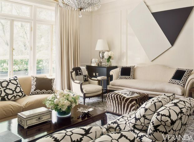 A Black And White Print Sofa And Geometric Rug Inspired High Contrast Decor  In This
