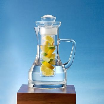 Handblown glass fruit infusion pitcher