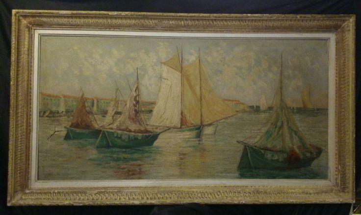 JEAN GEORGES XIXe XXème Port Voiles Latines Grande marine huile sur toile 120X60