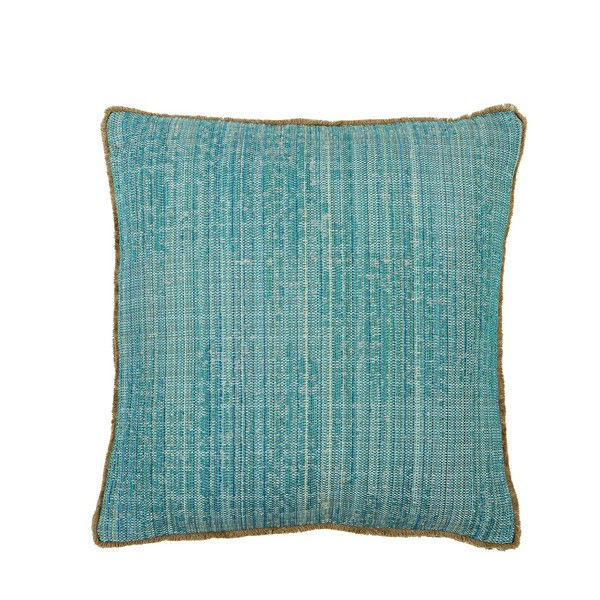 D1172 Seagrass Pool with Gusset and Double Eyelash Fringe 22x22x1 throw pillow, decor pillow, accent pillow, Lacefield Designs pillow