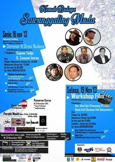 Kemah Budaya Sawunggaling Muda 18 – 23 November 2013 At Fakultas Bahasa & Seni, Unesa Lidah Wetan  http://eventsurabaya.net/kemah-budaya-sawunggaling-muda/