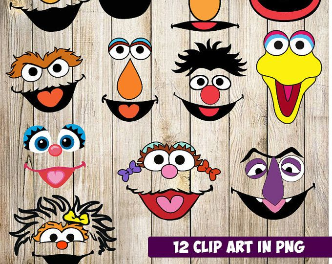 Sesame Street Faces,12 High Resolution Digital Clipart, Sesame Street Birthday Party, Baby shower, Party Supplies