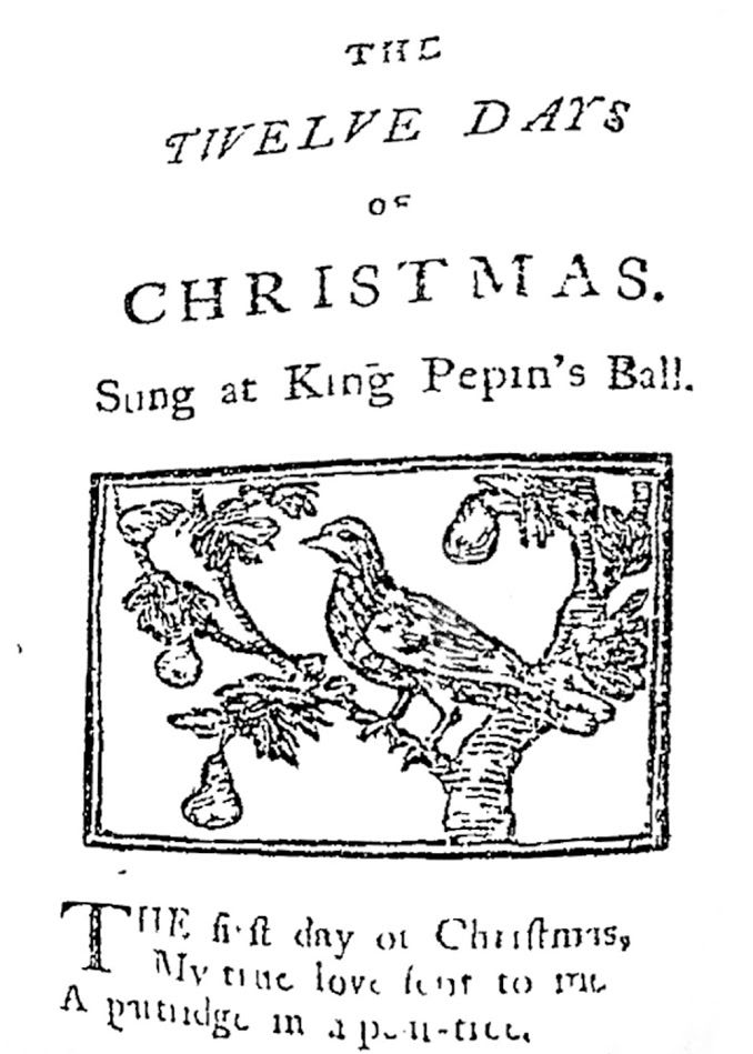 """Title page from the first known publication of """"The 12 days of Christmas"""" in 1780 """"Th… 