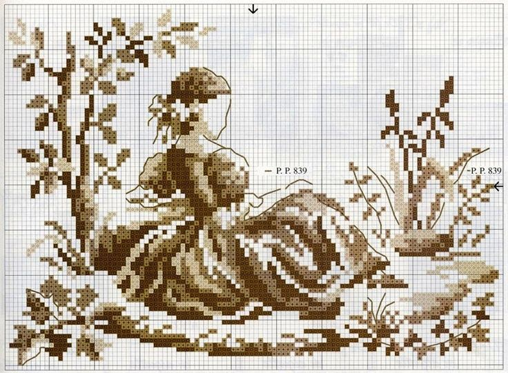 0 point de croix femme assise ds le jardin - cross stitch lady sat in the garden Toile de Jouy